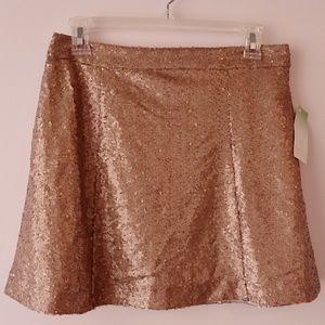 NWT Decree Rose Gold Sequin Skirt